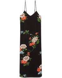 Tibi Quinn Floral Slip Dress - Black