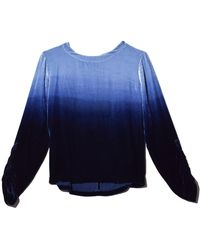 Raquel Allegra Velvet Tie Dye Jane Top - Blue
