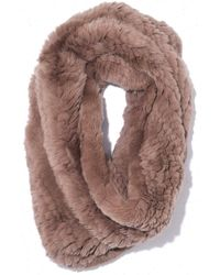 Yves Salomon Knitted Rabbit Snood - Brown