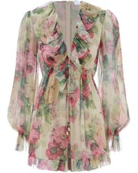 Zimmermann - Melody Floating Playsuit In Taupe Floral - Lyst