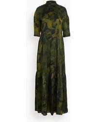 Aspesi Tiered High Neck Dress - Green