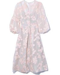 Lela Rose Stripe Floral Dress - Pink