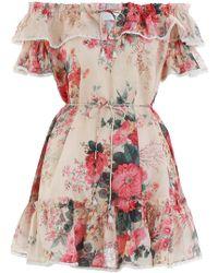 Zimmermann - Laelia Frill Tier Short Dress In Meadow Floral - Lyst