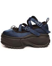 Simone Rocha Platform Track Sole Ballerina Shoe - Blue