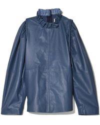 Sea Lydia Leather Blouse - Blue