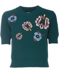 La DoubleJ Cropped Knit Top - Green