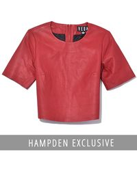 VEDA Leather Crop Tee In Crimson - Red