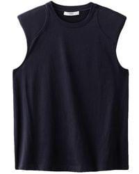 Tibi Sleeveless T-shirt With Shoulder Pads - Blue
