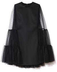 Giambattista Valli Flared Tulle Sleeve Mini Dress - Black