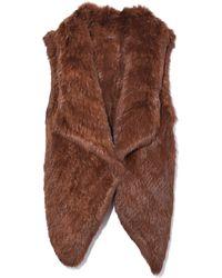 Yves Salomon Knitted Rabbit Vest - Brown