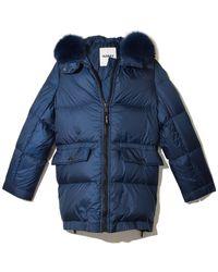 Yves Salomon Light Fox Puffer Coat - Blue