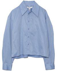 Tibi Miles Shirt Scallop Sleeve Cropped Boyfriend - Blue