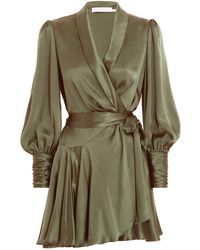 Zimmermann Silk Wrap Mini Dress - Green