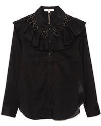 Tibi Emma Smocked Shirt - Black