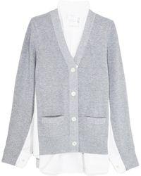 Sacai - Cotton Knit Cardigan In Light Grey/white - Lyst