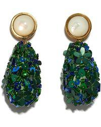Lizzie Fortunato Roman Party Earrings In Emerald - Green
