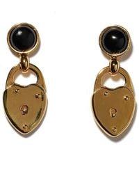 Lizzie Fortunato Onyx Locket Earrings - Metallic