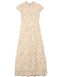 Sea Alison Print Short Sleeve Smocked Dress - Natural