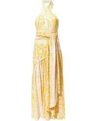 Proenza Schouler Snakeprint Crepe Cross Front Dress - Yellow