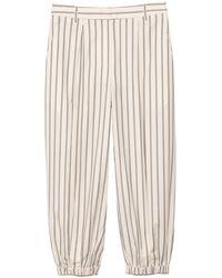Tibi Levi Stripe Pleated Balloon Pant - Natural