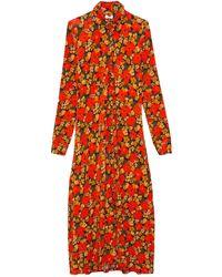Rosetta Getty Slim Abstract Flowers Shirtdress - Red