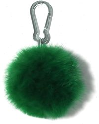 Yves Salomon Fox Pompom Keychain - Green