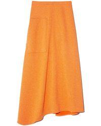 Tibi Speckled Knit Origami Wrap Skirt - Orange