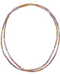Theodosia Shaded Sapphire Long Strand Necklace - Metallic