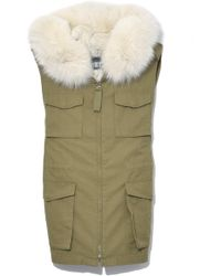 Yves Salomon - Light Cotton Vest With Hood In Aloe/vapor - Lyst