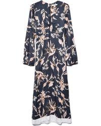 Dorothee Schumacher Tamed Florals Dress In Black/rose Pekish Flower