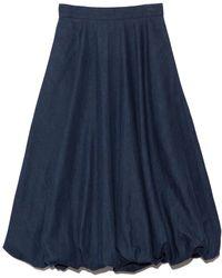 Tibi Summer Denim Bubble Skirt - Blue