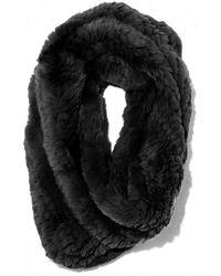 Yves Salomon Knitted Rabbit Snood - Black