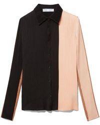 Proenza Schouler Colorblock Plisse Button-front Top - Black