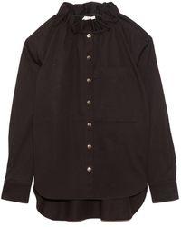 Tibi Organic Cotton Twill Ruffle Shirt Jacket - Black