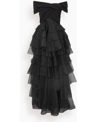 Giambattista Valli Off The Shoulder Tiered Gown - Black