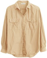 Alex Mill Oversized Garment Dyed Shirt In Khaki - Natural