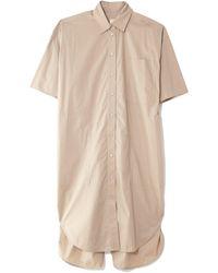 Lee Mathews Poplin Short Sleeve Shirt Dress - Natural