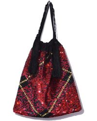Attico - Full Sequins Tartan Pouch Bag In Red - Lyst