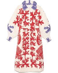 Sea Henrietta Print Quilted Coat - Red