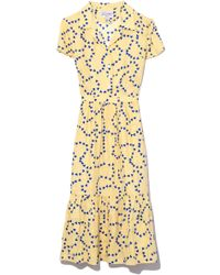 HVN - Charlotte Ruffle Dress In Yellow String Of Hearts - Lyst