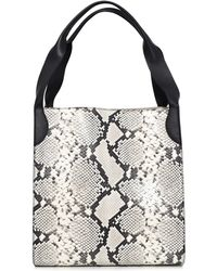 Rochas - Printed Python Leather Tote In Medium Grey - Lyst