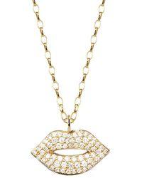 Sydney Evan Medium Lips Necklace - Metallic