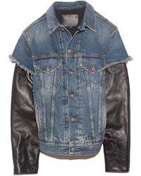 R13 Sky Trucker Jean Jacket With Leather Sleeve - Blue