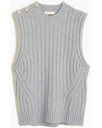 Ganni Wool Mix Vest - Grey