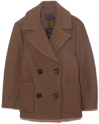 Proenza Schouler Technical Twill Coating Double Breasted Coat - Brown