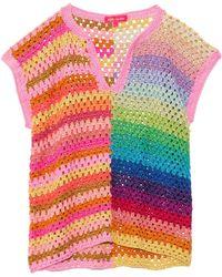 Rose Carmine Djelaba Top - Multicolour