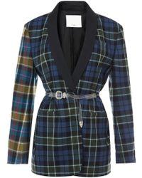 Tibi - Tartan Oversized Tuxedo Blazer With Belt In Blue Multi - Lyst