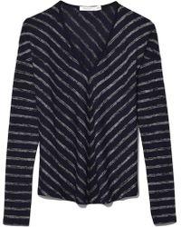 Rag & Bone - Striped Hudson Vee Long Sleeve In Navy/black Heather - Lyst