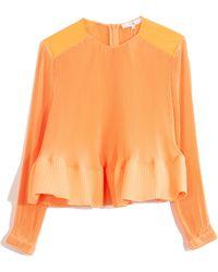 Tibi Pleating Long Sleeve Top - Orange