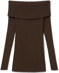 Proenza Schouler Chunky Rib Knit Off The Shoulder Long Sleeve Top - Brown